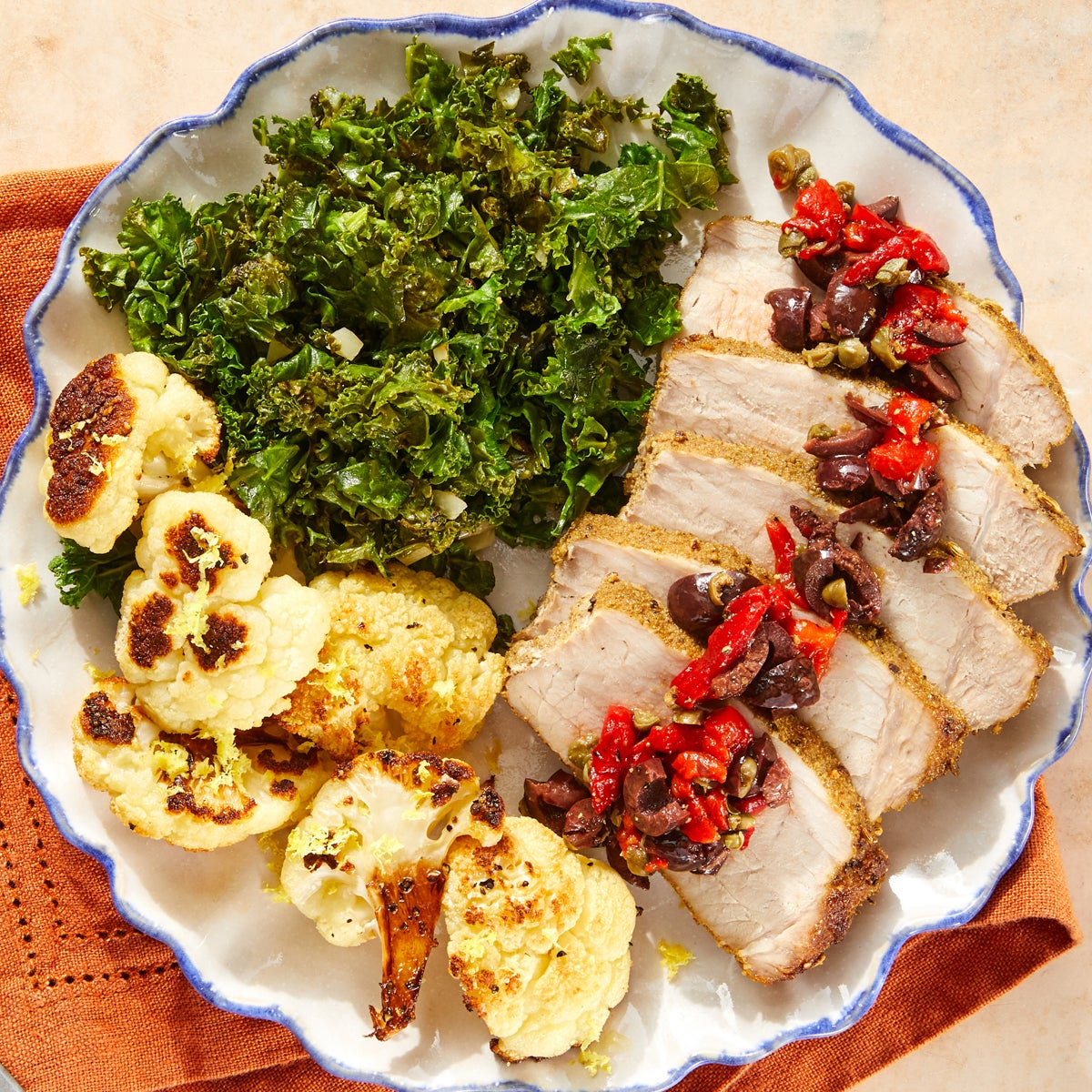 Roasted Pork & Olive Tapenade with Cauliflower & Kale