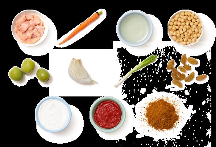 Moroccan-Style Chicken & Chickpeas with Garlic Yogurt