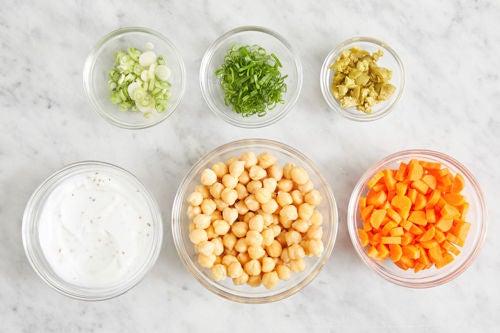 Prepare the ingredients & make the garlic yogurt: