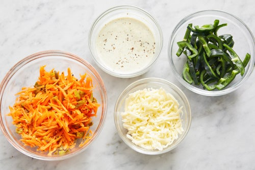 Prepare the ingredients & make the carrot slaw: