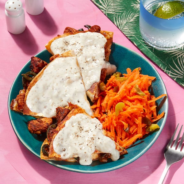 San Francisco-Inspired  Smothered Chicken Quesadillas with Carrot-Jalapeño Slaw