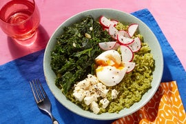 California-Style Pesto Rice Bowl with Lemon Feta & a Soft-Boiled Egg