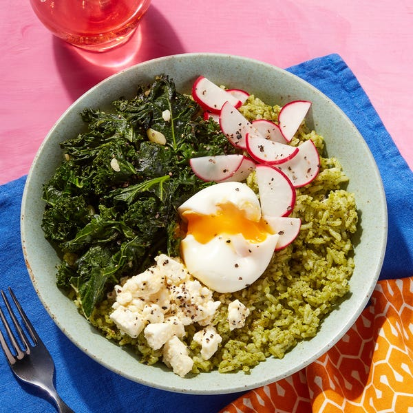 California-Style Pesto Rice Bowl with Lemon Feta & a Soft-Boiled Egg