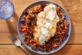 Chicken & Creamy Lemon-Mustard Sauce with Carrots, Beets & Farro