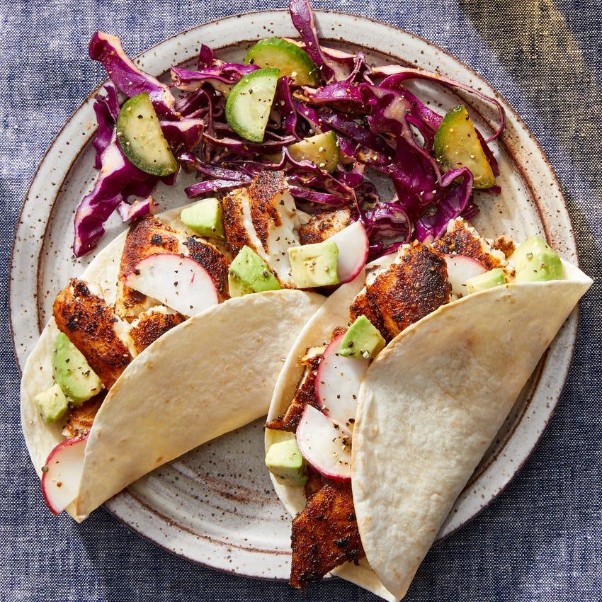 Fish Tacos & Avocado-Radish Salsa with Creamy Chipotle Slaw