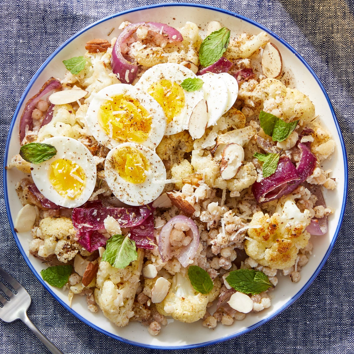 Za'atar Cauliflower & Fregola Sarda with Hard-Boiled Eggs & Mint