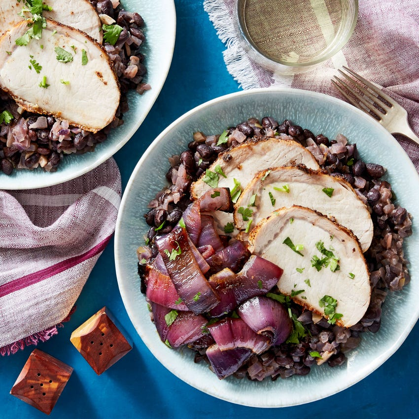 Top Chef Spice-Rubbed Pork with Sweet Red Onion & Black Beans
