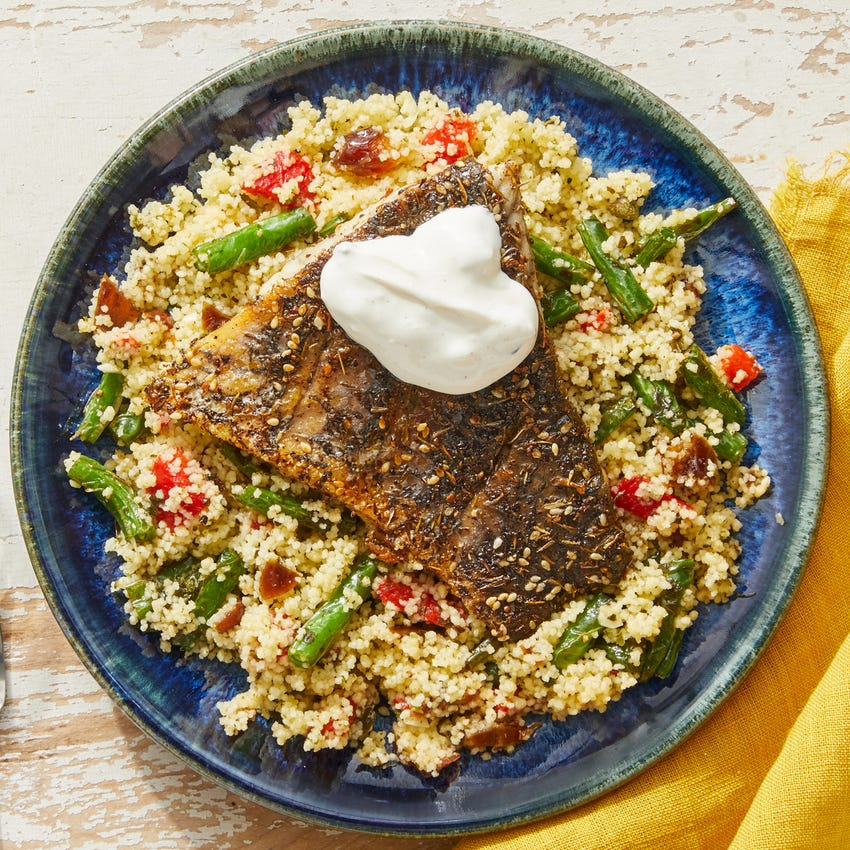 Za'atar-Spiced Barramundi & Couscous with Salsa Verde & Roasted Red Peppers