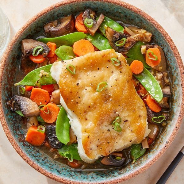 Miso-Roasted Cod & Mushroom Broth with Snow Peas & Carrots