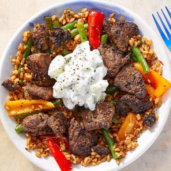 Beef Shawarma Bowls with Harissa Vegetables & Cucumber Yogurt
