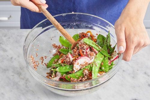 Finish the quinoa & serve your dish: