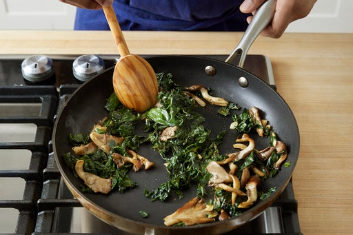 Cook the mushrooms & kale:
