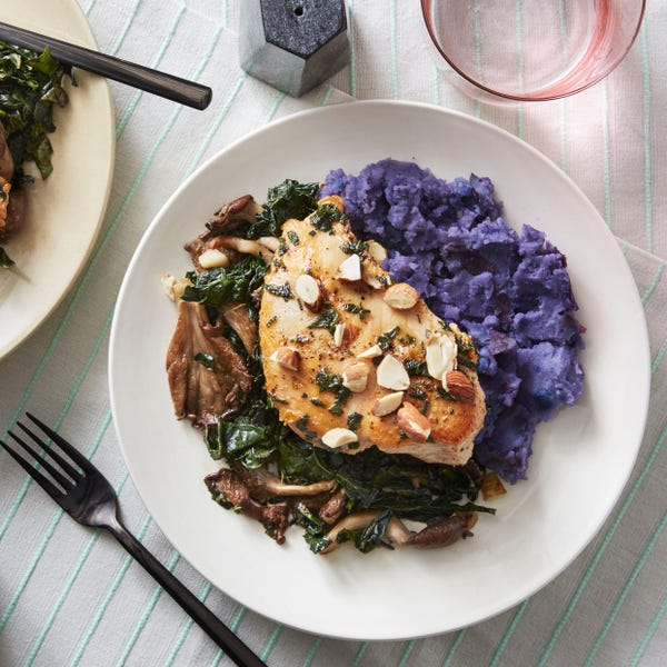 Chicken & Sage Pan Sauce with Oyster Mushrooms & Mashed Purple Potatoes