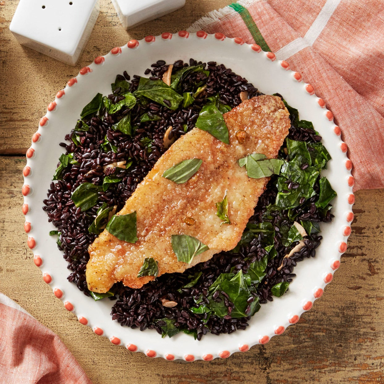 Chile-Glazed Catfish with Thai Basil & Purple Rice