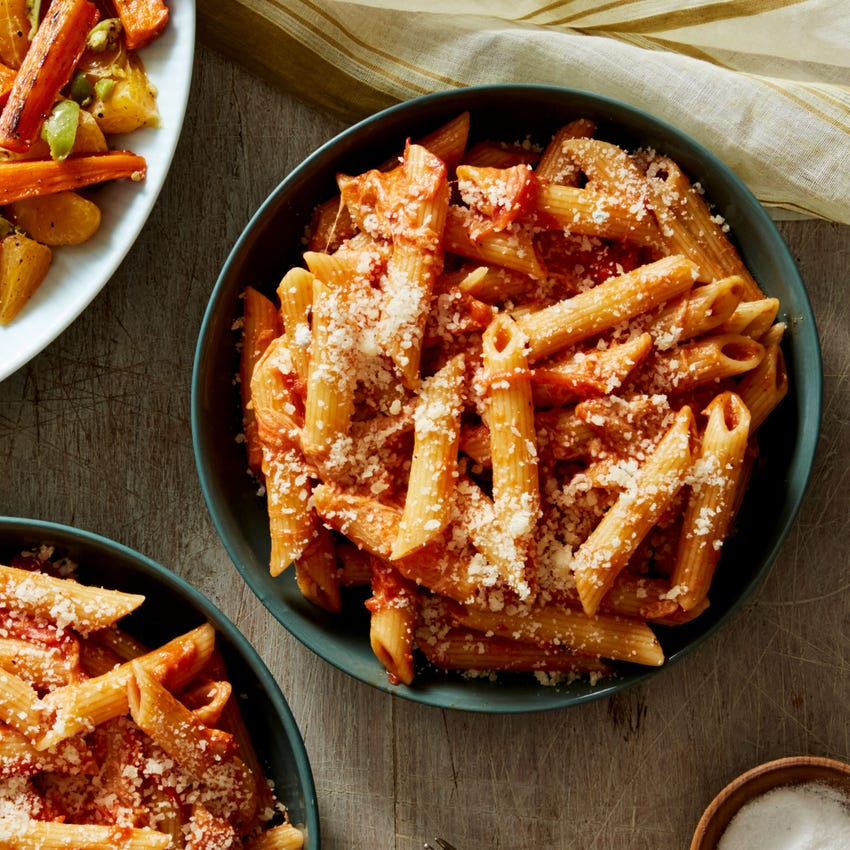 Penne & Arrabbiata Sauce with Roasted Carrot & Tangelo Salad