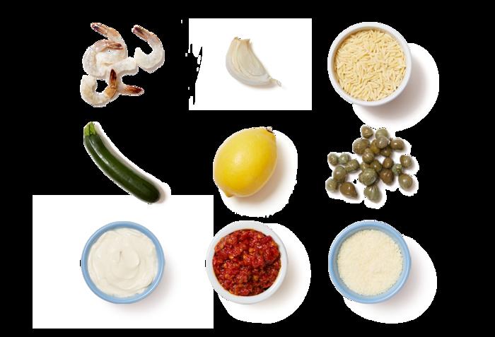 Creamy Lemon Shrimp & Orzo with Zucchini