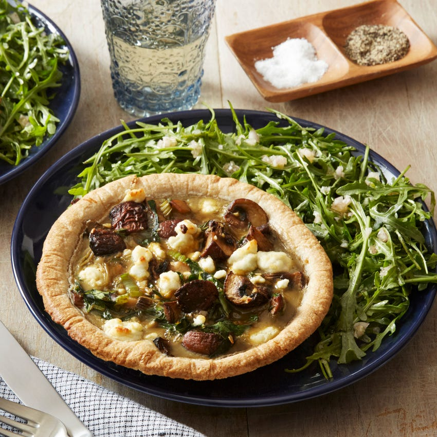 Mushroom & Goat Cheese Quiches with Arugula Salad & Pink Lemon Vinaigrette