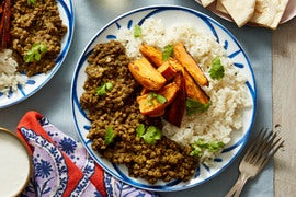 Spiced Lentils & Basmati Rice with Roasted Sweet Potato & Coconut Yogurt