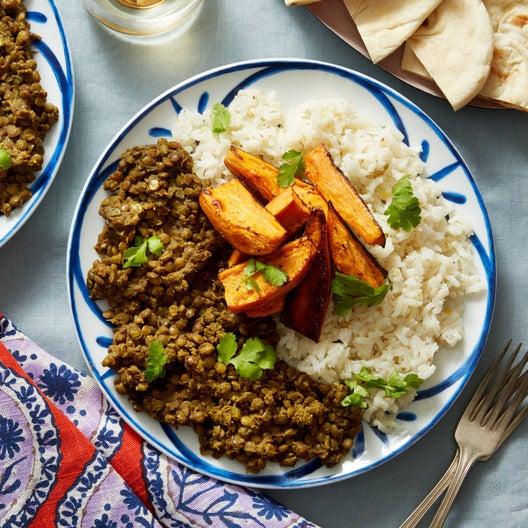 Spiced Lentils & Basmati Rice with Roasted Sweet Potato & Coconut Yogurt