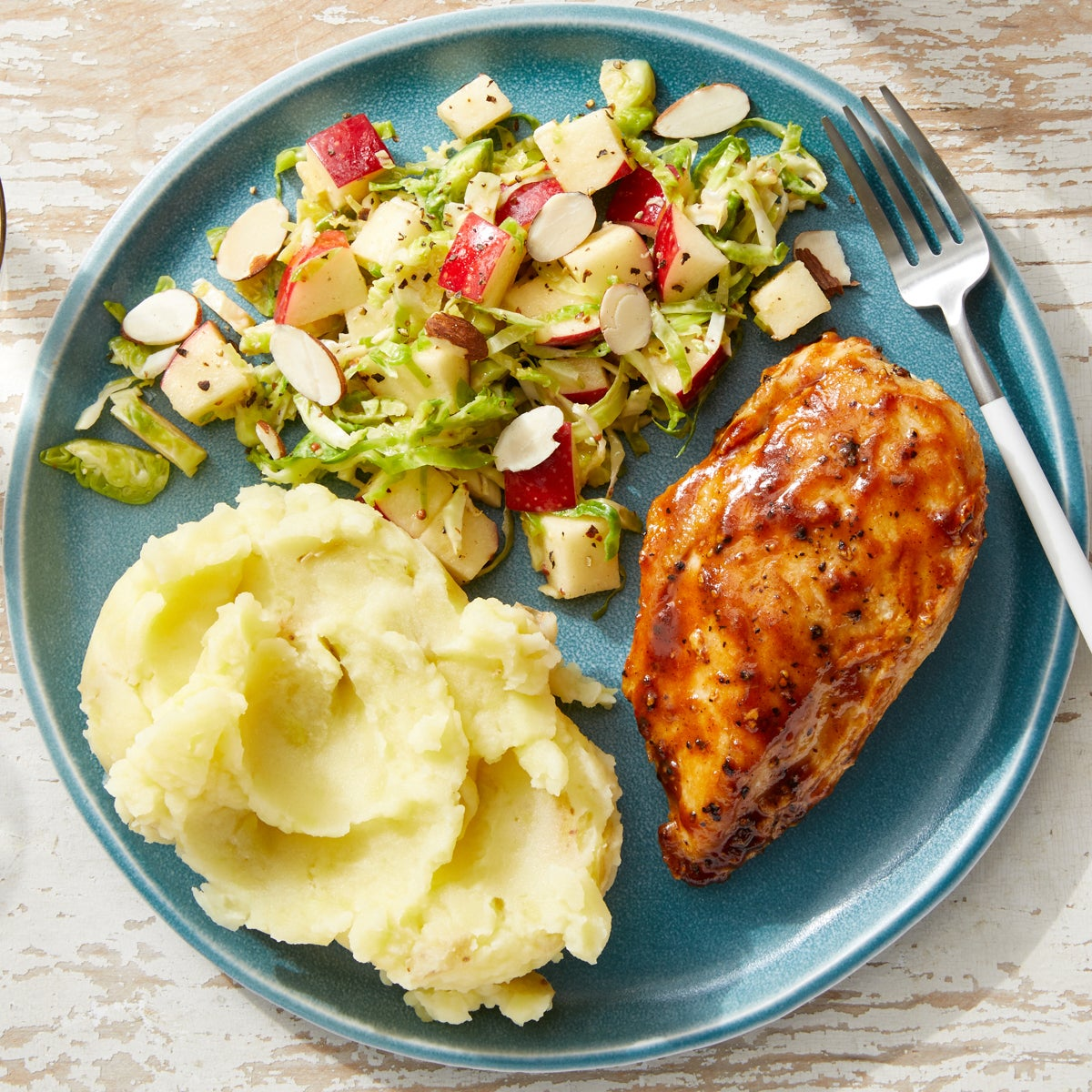 BBQ Chicken & Mashed Potatoes with Brussels Sprout & Apple Slaw