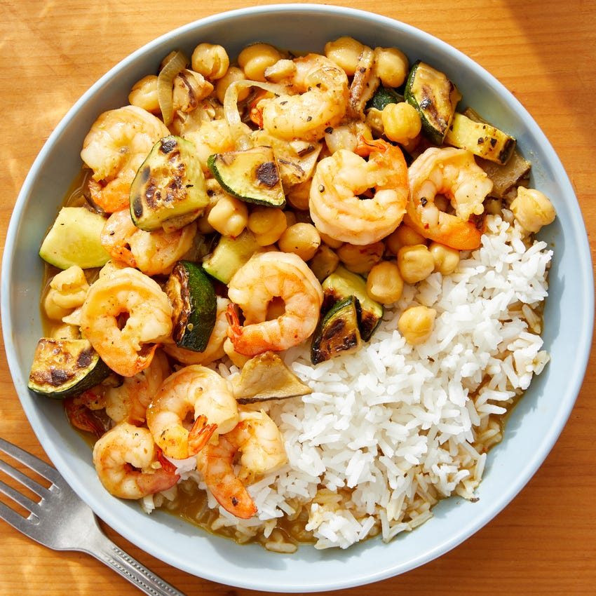 Spicy Shrimp & Vegetable Curry with Jasmine Rice