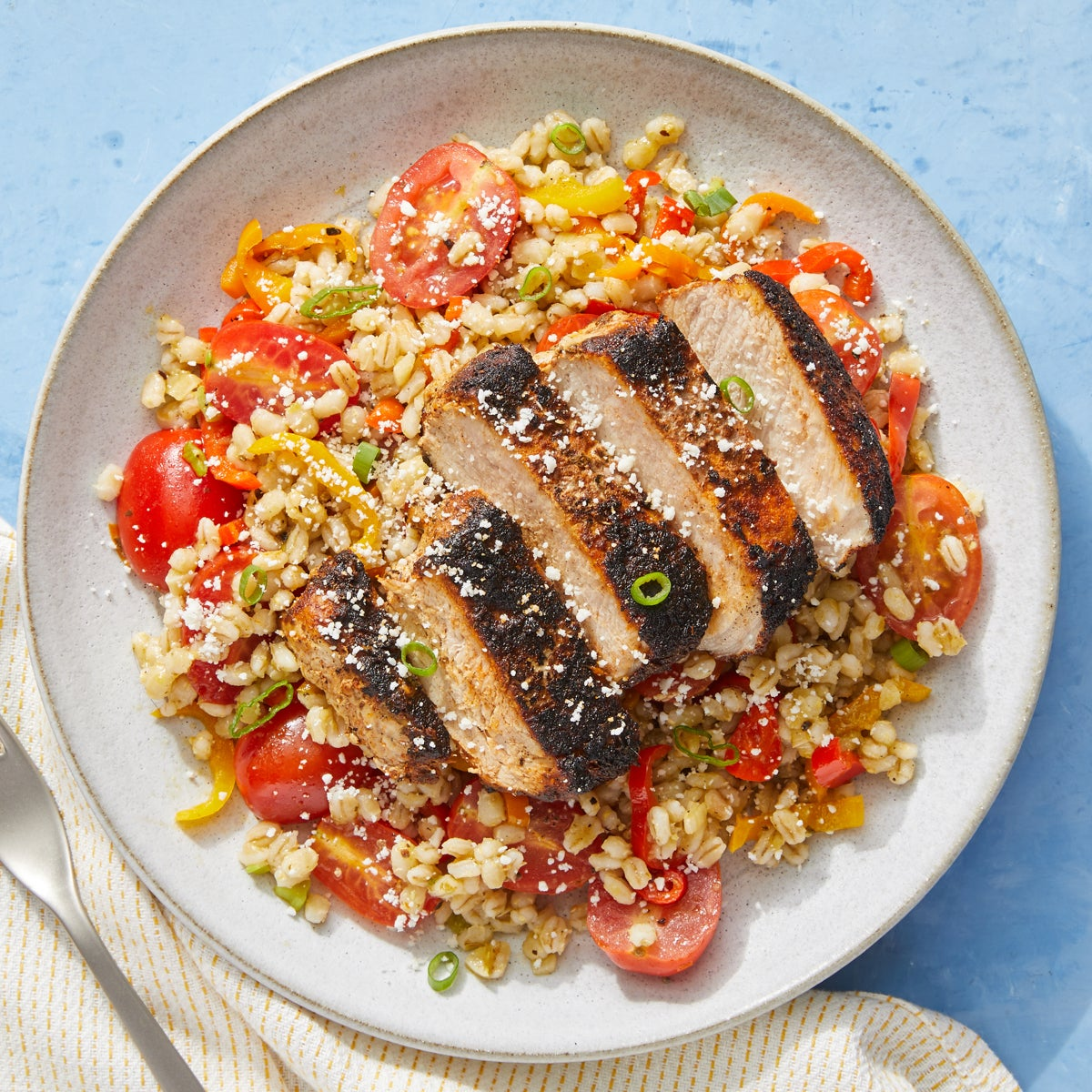 Mexican-Spiced Pork Chops with Tomatillo Barley & Cotija Cheese