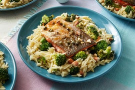 Salmon Piccata with Orzo & Broccoli