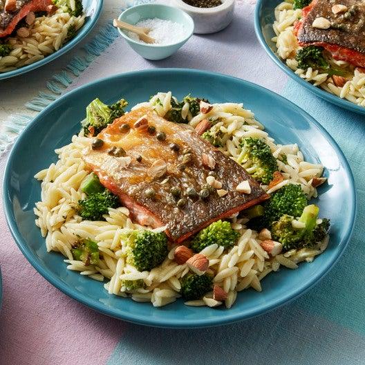Salmon Piccata with Orzo & Broccoli