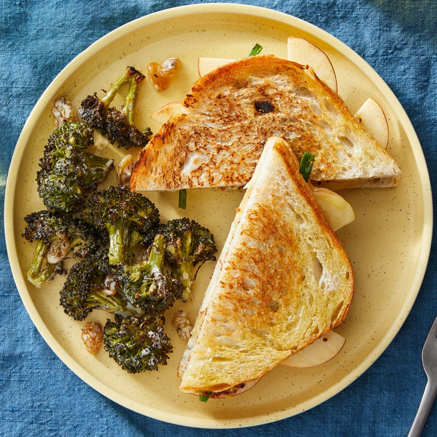 Fontina & Apple Grilled Cheese Sandwiches with Roasted Broccoli