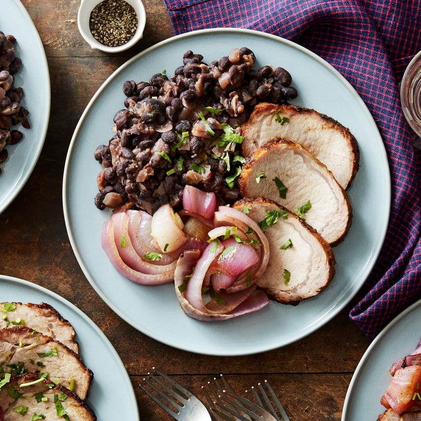 Top Chef Spiced Pork with Sweet Red Onions & Black Beans