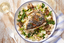 Soy-Orange Barramundi & Fried Rice with Mushrooms & Bok Choy