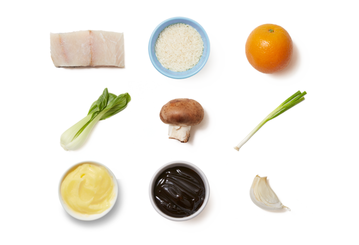 Soy-Orange Barramundi & Fried Rice with Mushrooms & Bok Choy