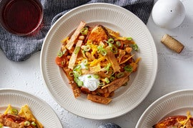 Vegetable Chili & Baked Sweet Potatoes with Crispy Tortilla Strips