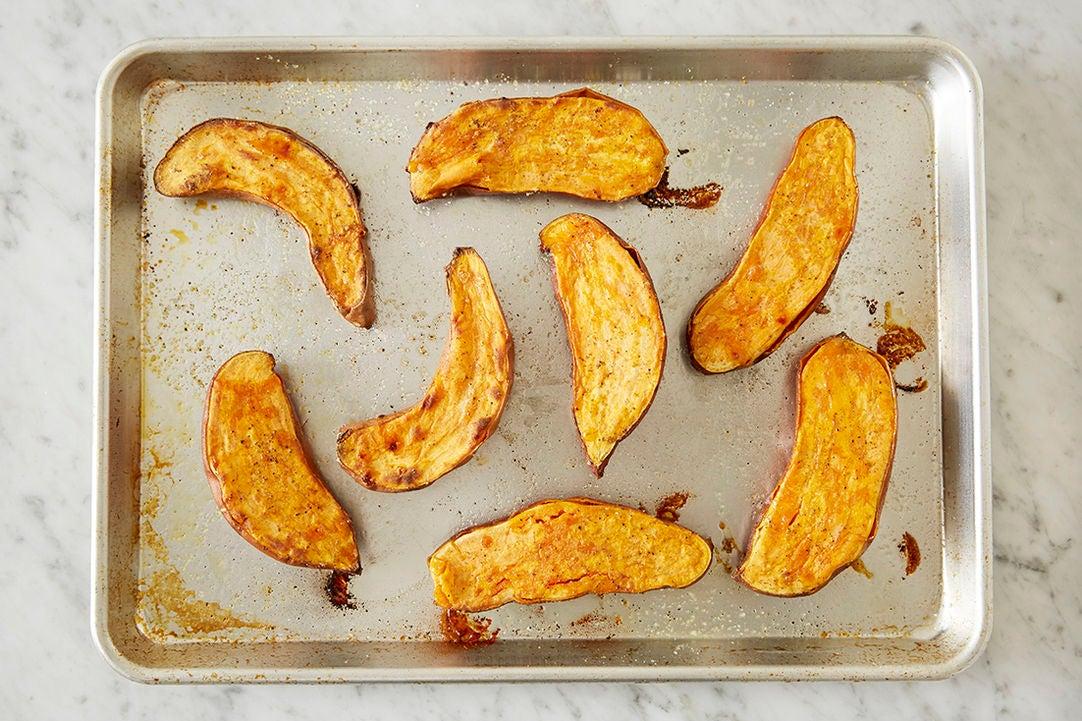 Prepare & bake the sweet potatoes: