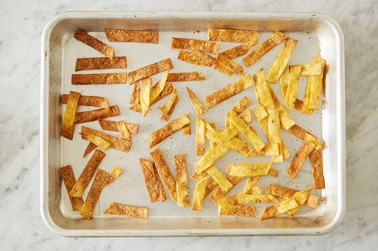 Toast the tortilla strips: