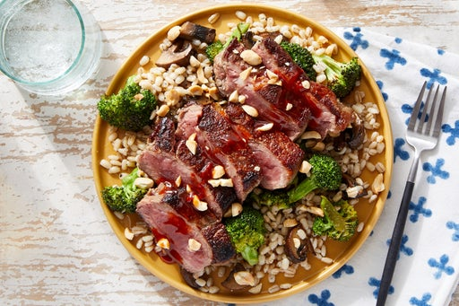 Seared Steak & Gochujang-Soy Sauce with Broccoli & Mushroom Barley