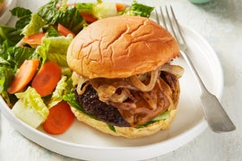 Cheddar Cheeseburgers with Sautéed Onion & Romaine Salad