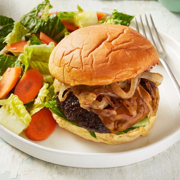 Cheddar Cheeseburgers with Sautéed Onion & Romaine Salad