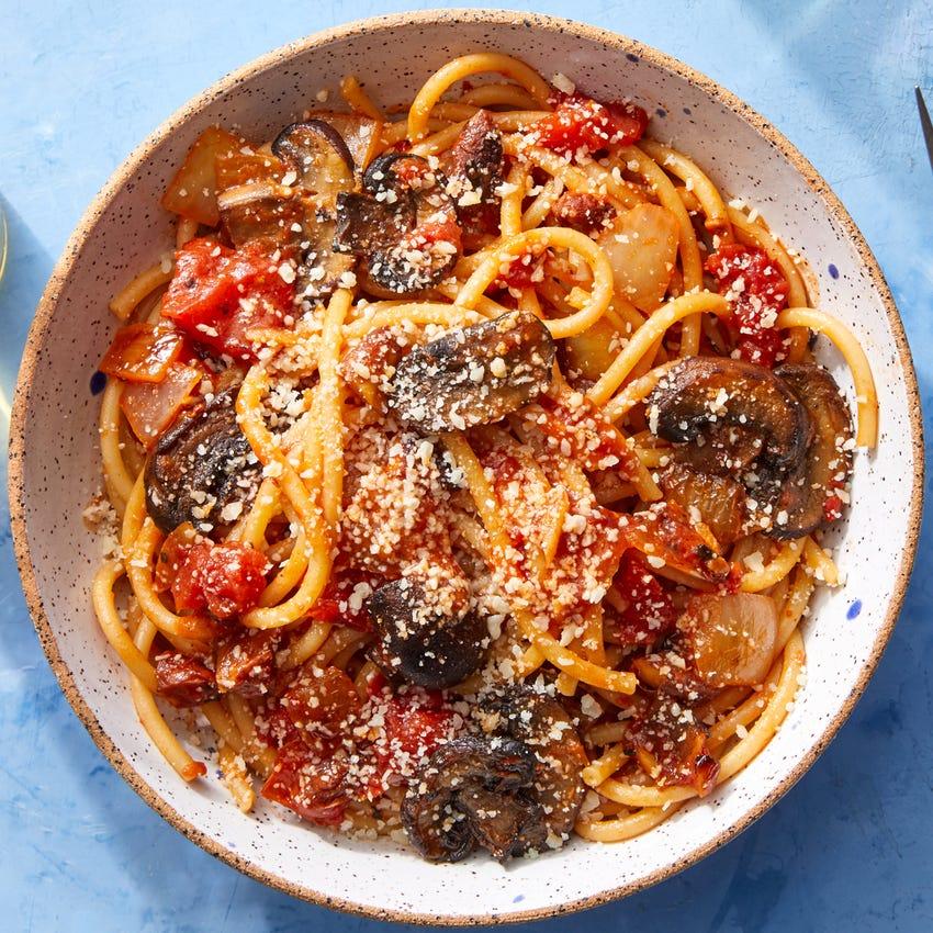 Bucatini Pasta & Mushrooms with Calabrian Chile Tomato Sauce