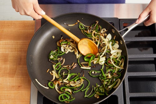 Cook the onion & poblano pepper:
