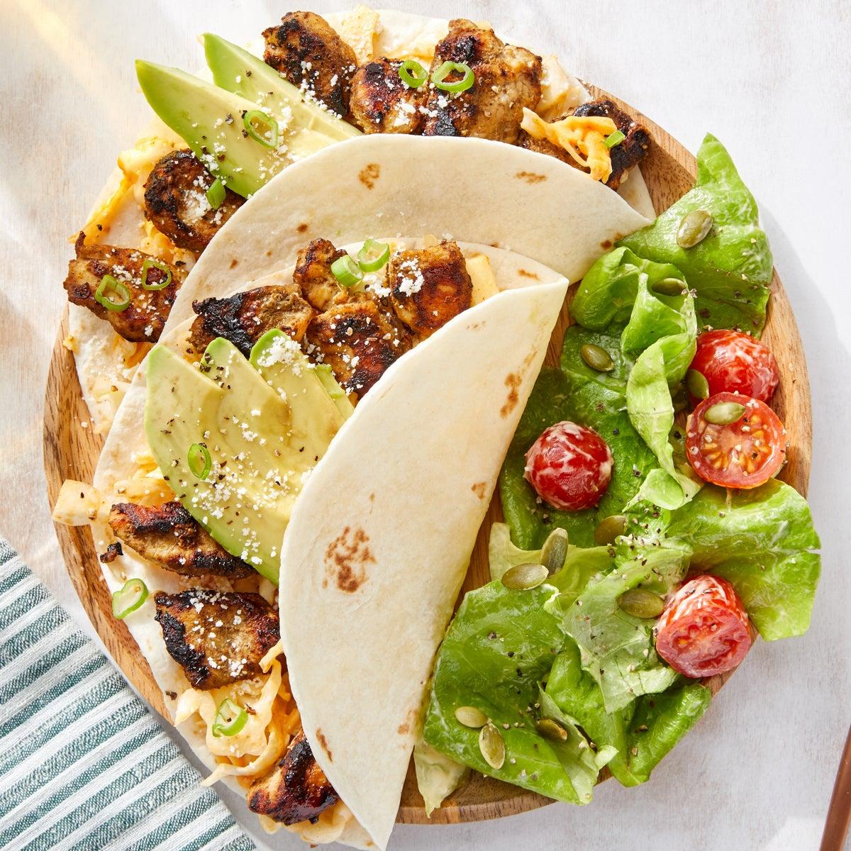 Jerk Chicken Tacos with Creamy Chipotle Cabbage Slaw & Avocado