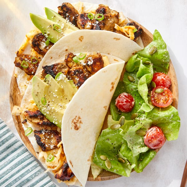 Jerk Chicken Tacos with Creamy Chipotle Cabbage Slaw & Avocado