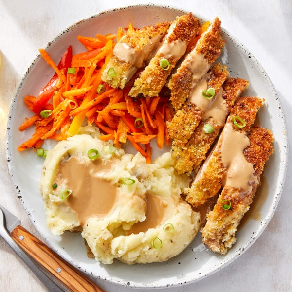 Japanese-Style Crispy Chicken with Mashed Potatoes & Carrot-Pepper Slaw