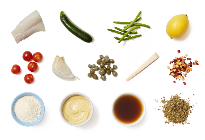 Italian-Style Crispy Cod with Sautéed Vegetables & Grana Padano Cheese