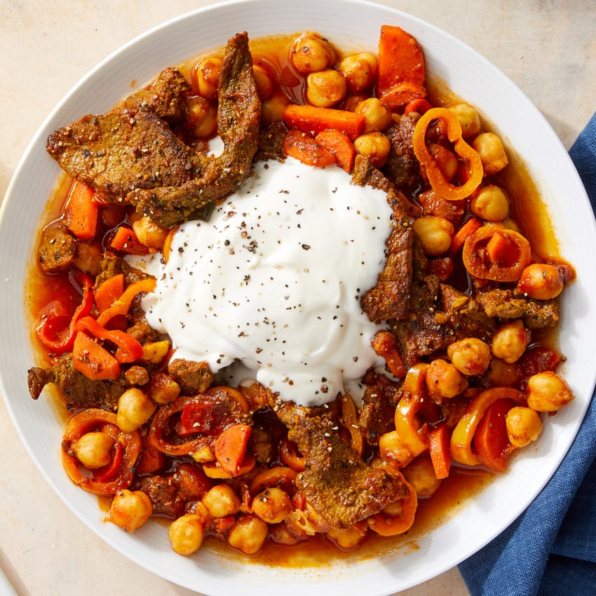 Indian-Style Beef with Chickpeas, Carrots & Peppers