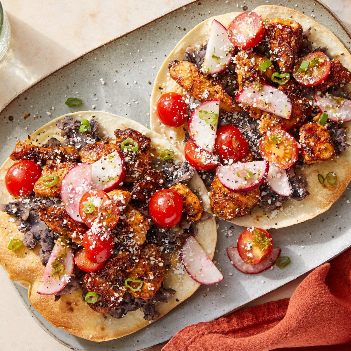 Chipotle Chicken Tostadas with Black Bean Mash & Tomato-Radish Salsa