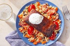 Moroccan-Inspired Salmon & Couscous with Lemon Yogurt