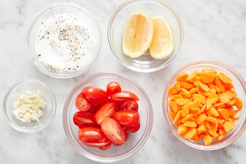 Prepare the ingredients & make the lemon yogurt: