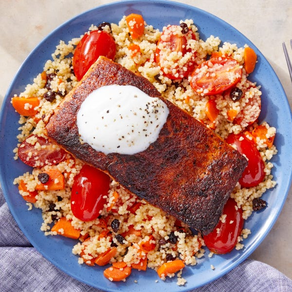 Moroccan-Inspired Salmon & Couscous with Lemon Yogurt