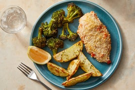 Spicy Panko-Crusted Chicken with Roasted Potatoes & Broccoli
